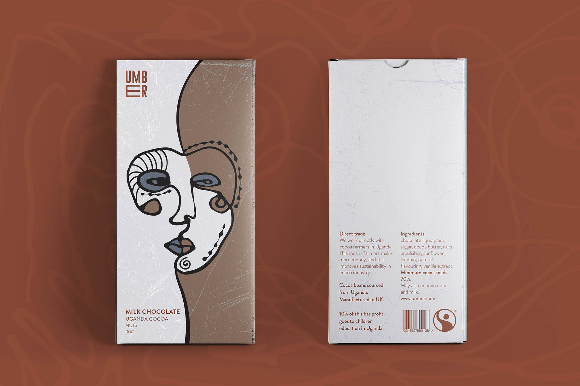 Visual identity and packaging for Umber a chocolate brand working with cocoa farmers to improve their income and sustainability