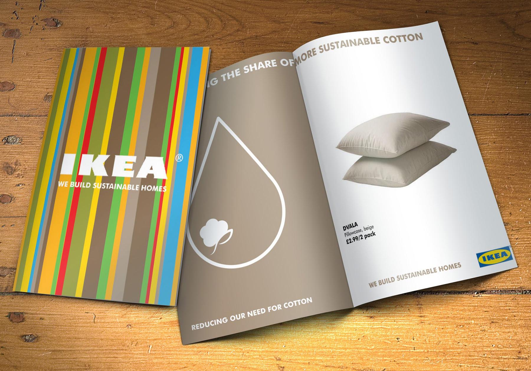 Double page spread for Ikea's position on sustainable cotton