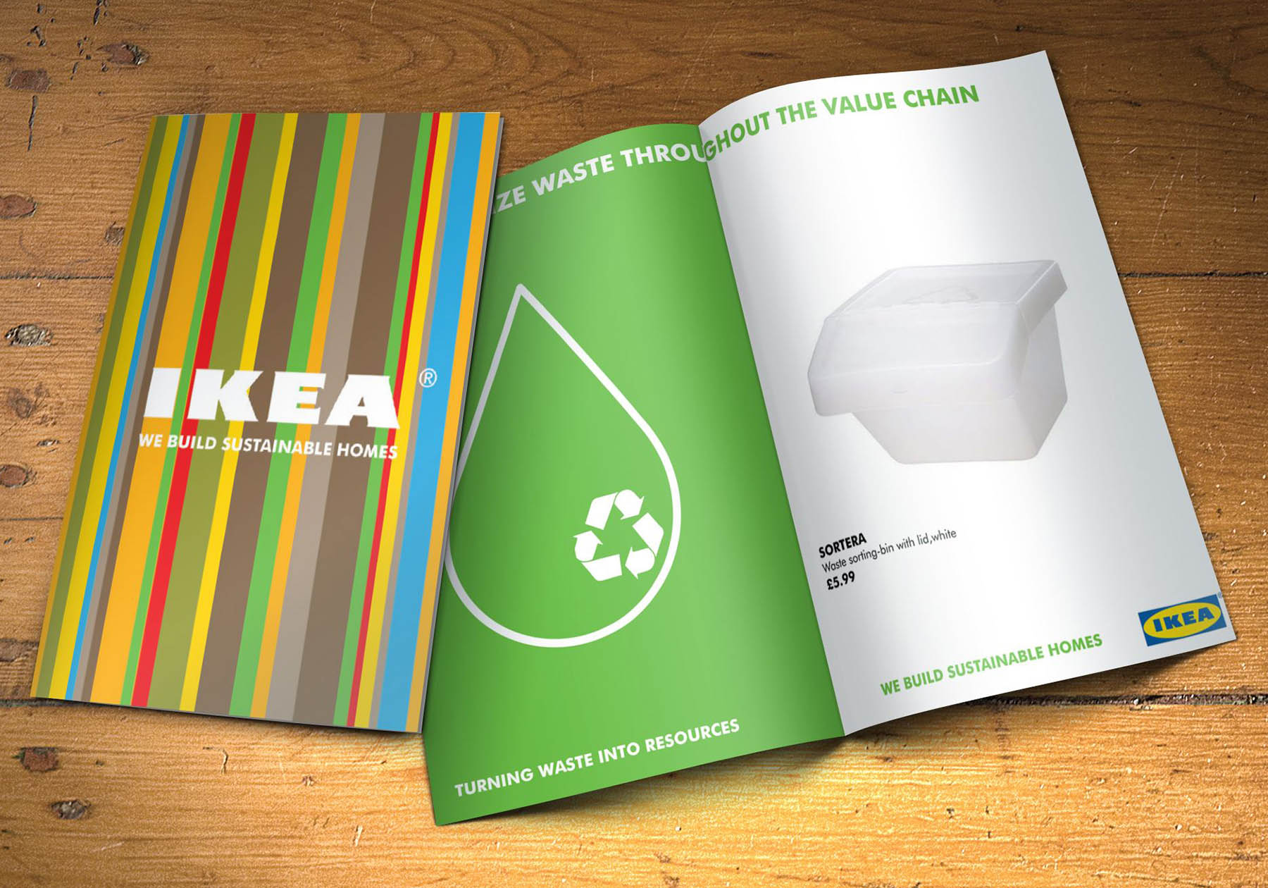 Double page spread for Ikea's position on turning waste into resources