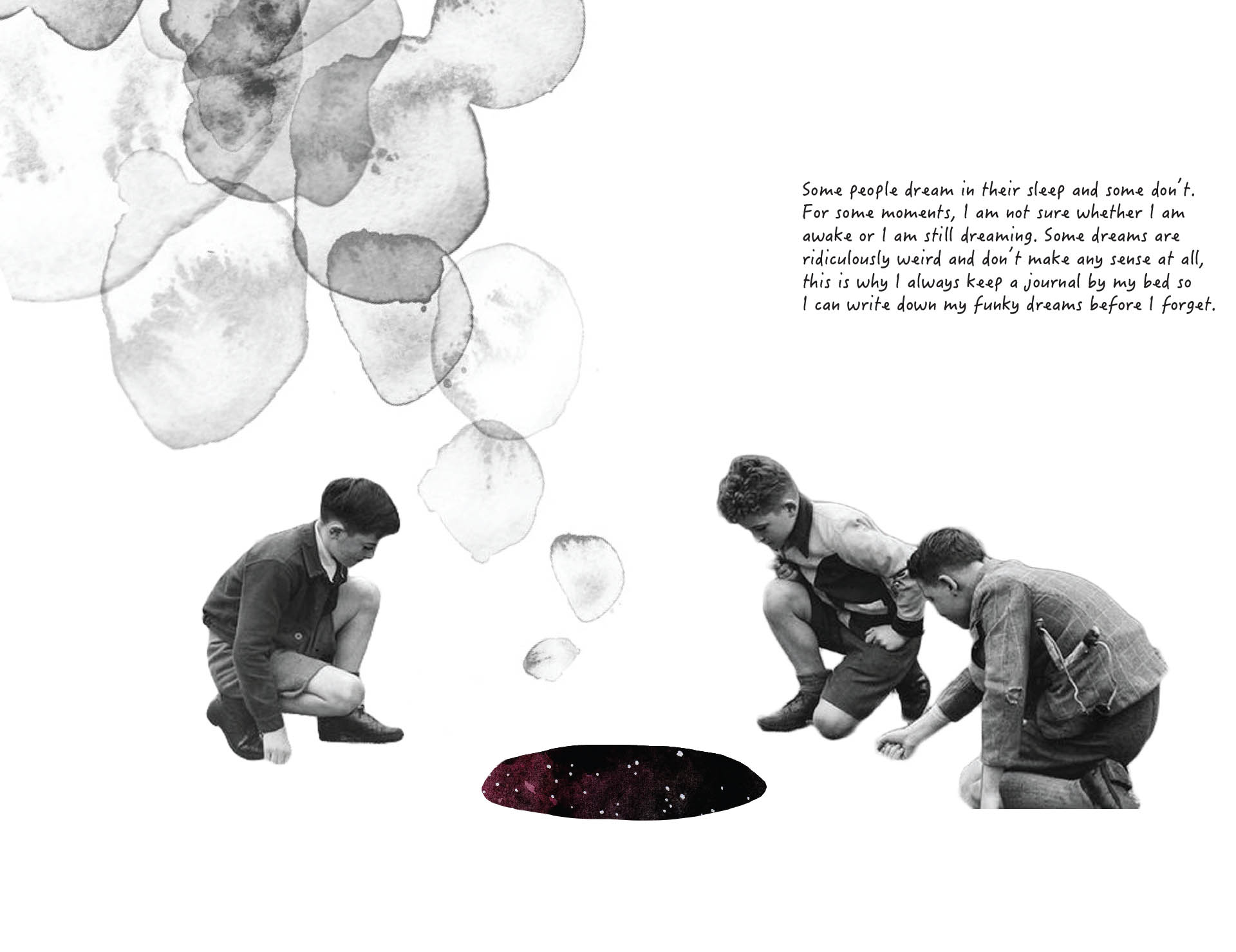 Book page spread design, A Dream Within A Dream, introduction