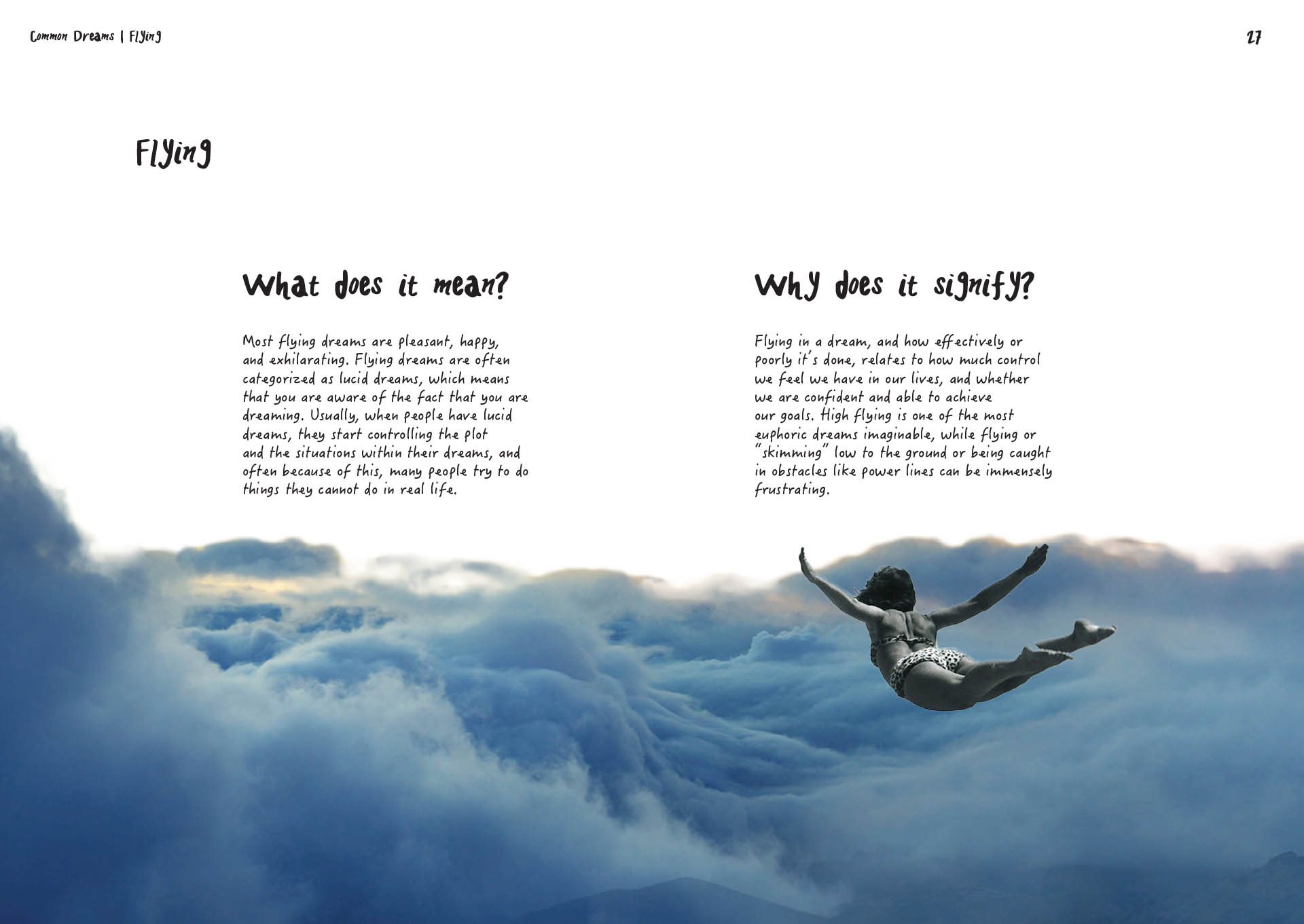 Book page spread design, A Dream Within A Dream, definition of flying dreams