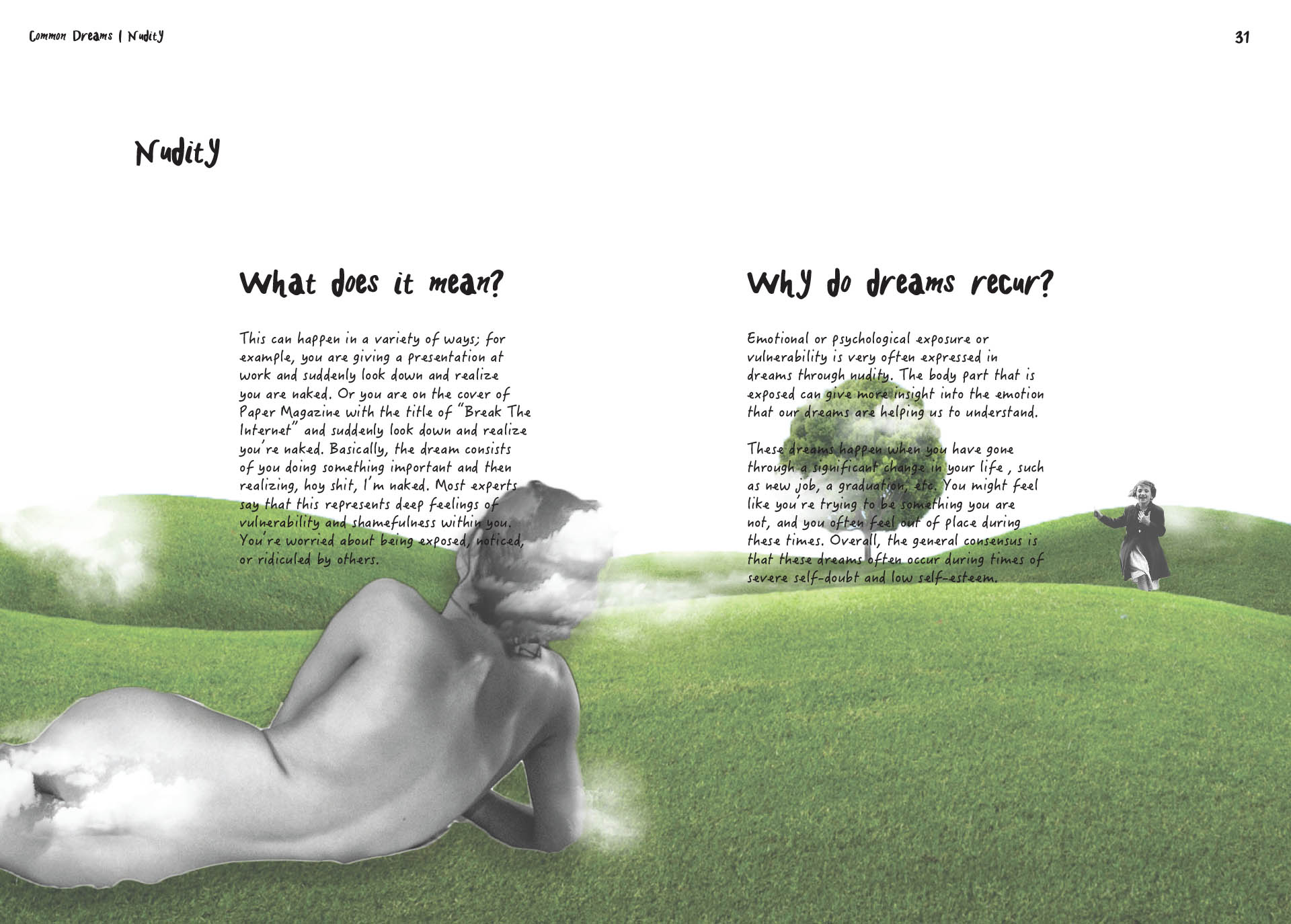 Book page spread design, A Dream Within A Dream, definition of nudity dreams