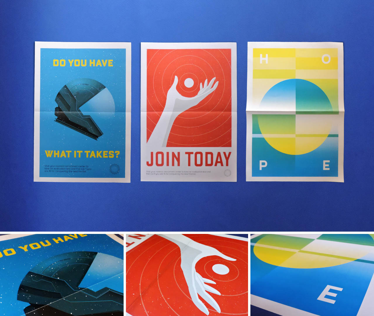 Group of posters that show different aspects about the creation of the planet, including the recruitment of personnel, left and centre and how people felt about it, right