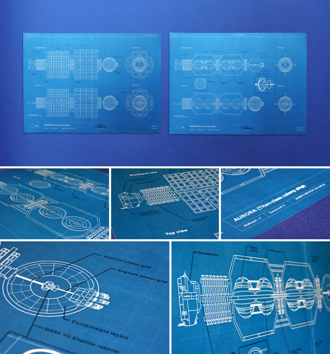 Blueprint of the Aurora colony ship, the spaceship that took all the necessary personnel and equipments to the planet