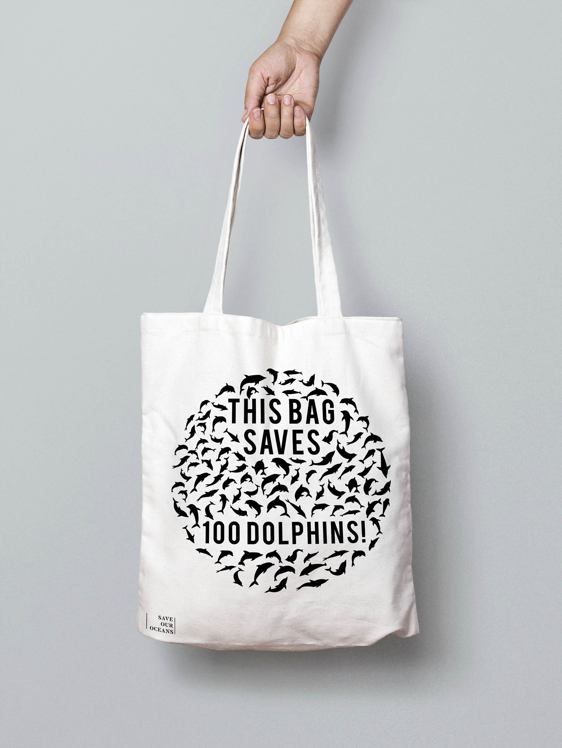 Sustainable canvas bag to promote Save Our Oceans