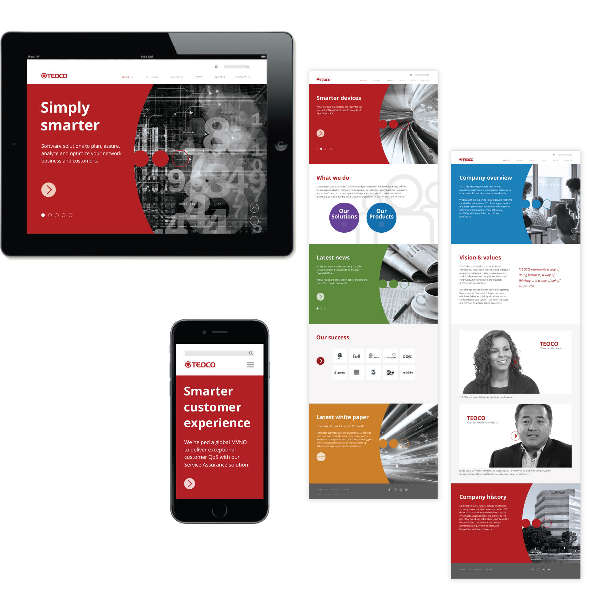 Visual language and web design for TEOCO – a leading provider of planning, assurance, analytics and optimization solutions to communications service providers worldwide