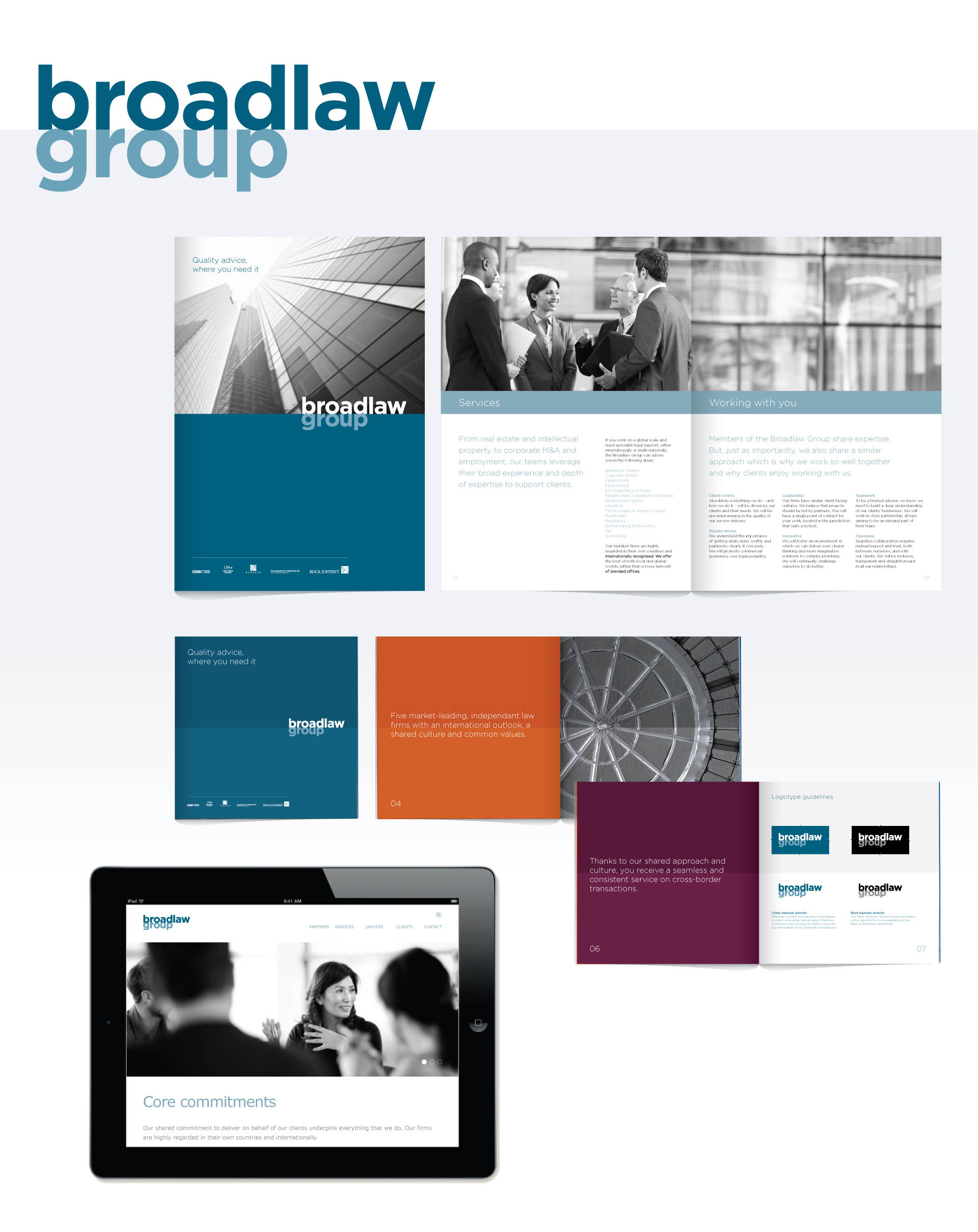 Corporate identity and visual language for Broadlaw Group – bringing together five market-leading independant law firms in 31 offices across Asia, Europe, the Middle East and North Africa